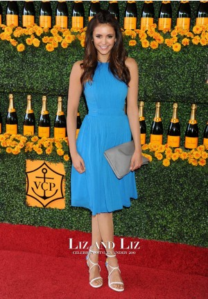 Nina Dobrev Short Blue Cocktail Party Dress Veuve Clicquot Polo Classic 2015