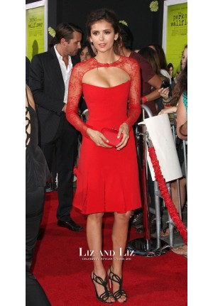Nina Dobrev Red Lace Dress The Perks of Being a Wallflower LA Premiere