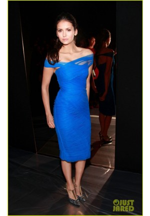 Nina Dobrev Inspired Short Blue Off-the-shoulder Cocktail Party Celebrity Dress