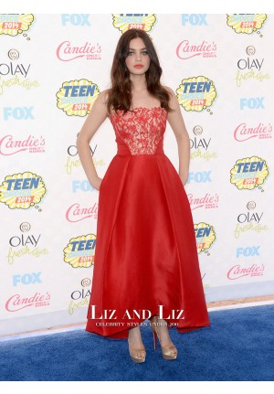 Odeya Rush Red Strapless Celebrity Prom Dress Teen Choice Awards 2014