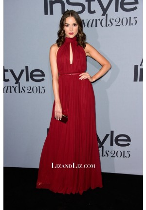 Olivia Culpo Red Chiffon Evening Prom Celebrity Dress InStyle Awards 2015