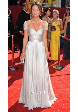 Olivia Wilde Silver Cap-sleeve Celebrity Dresses Emmys 2008 Red Carpet