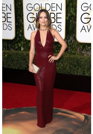 Olivia Wilde Burgundy Sequin Celebrity Dresses Golden Globes 2016 Red Carpet