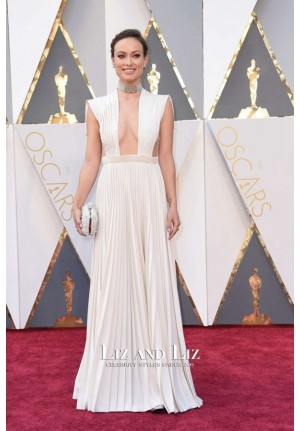 Olivia Wilde White Plunging Backless Prom Dress Oscars 2016 Red Carpet