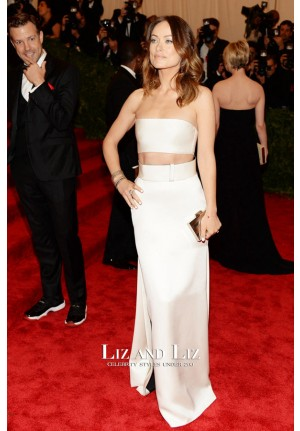 Olivia Wilde White Two-piece Prom Gown Met Gala 2013 Red Carpet Dress