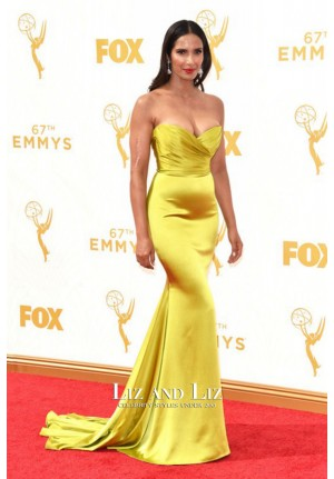Padma Lakshmi Green Strapless Mermaid Satin Prom Dress Emmys 2015