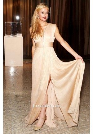 Paris Hilton Champagne V-neck Evening Prom Celebrity Dress UNITAS 2nd Gala