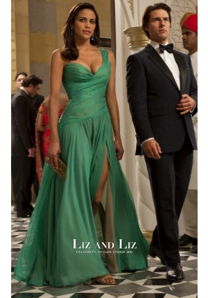 Paula Patton Green One-shoulder Chiffon Dress In Movie Mission Impossible