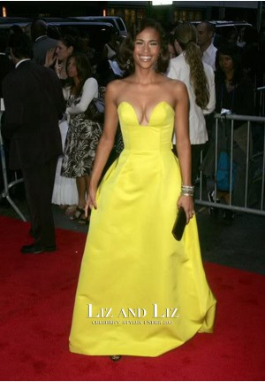 Paula Patton Yellow Strapless Celebrity Dress Idlewild New York Premiere
