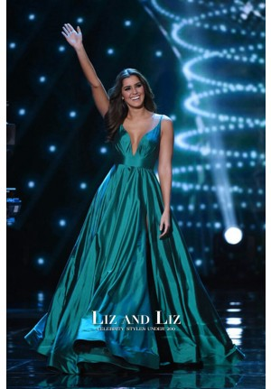 Paulina Vega Teal Blue V-neck Celebrity Dress 2015 Miss Universe Pageant