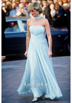 Princess Diana Blue Strapless Chiffon Celebrity Dress Evening Prom Gown