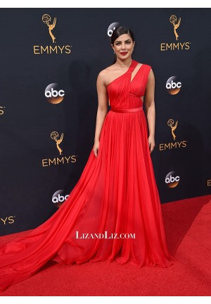 Priyanka Chopra Red One-shoulder Evening Prom Celebrity Dress Emmy Awards 2016