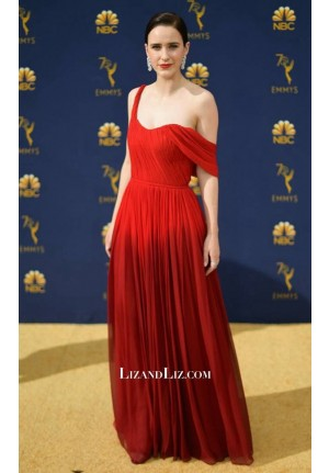 Rachel Brosnahan Red Formal Chiffon Celebrity Dress Emmy Awards 2018
