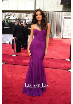 Rachel Smith Purple Strapless Chiffon Red Carpet Dress Oscars 2012