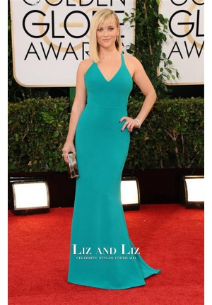 Reese Witherspoon Blue Formal Prom Golden Globes 2014 Red Carpet Dress