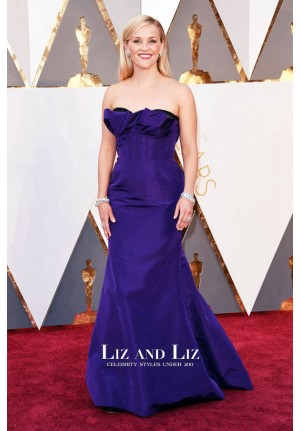 Reese Witherspoon Purple Strapless Prom Dress Oscars 2016 Red Carpet