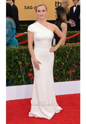 Reese Witherspoon White One-shoulder Red Carpet Dress SAG Awards 2015