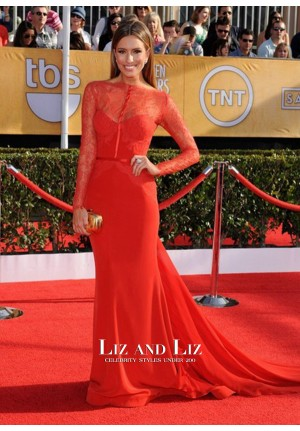 Renee Bargh Red Lace Long-sleeve Red Carpet Prom Dress SAG 2014