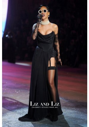 Rihanna Black Strapless Evening Prom Gown Celebrity Dress Fashion Show 2012