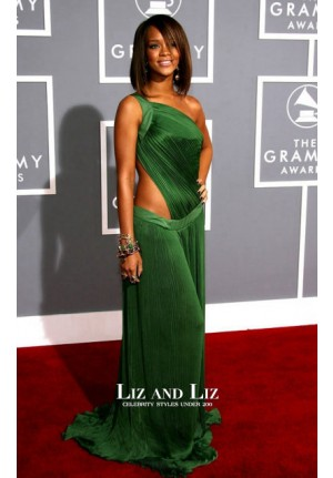 Rihanna Green One-shoulder Cut-out Dress Grammys 2007 Red Carpet