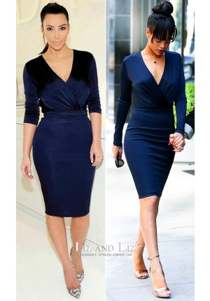 Rihanna Kim Kardashian Navy Blue Long-sleeve V-neck Cocktail Dress