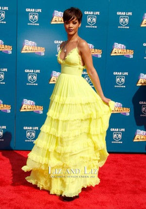 Rihanna Yellow Tiered Chiffon Gown 2008 BET Awards Red Carpet Dress