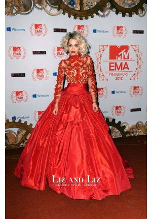 Rita Ora Red Lace Long-sleeve Ball Gown 2012 MTV EMAs Red Carpet Dress