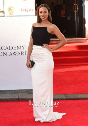 Rochelle Humes Black and White Dress British Television Awards 2014