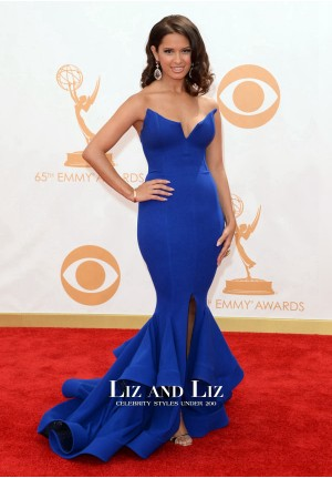 Rocsi Diaz Royal Blue Strapless Mermaid Gown Emmys 2013 Red Carpet Dress