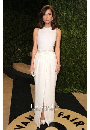 Rose Byrne White Column Evening Prom Red Carpet Dress Oscars 2013