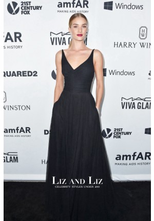 Rosie Huntington-Whiteley Black Dress amfARs Inspiration Gala 2015