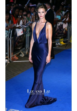 Rosie Huntington-Whiteley Blue Plunging Dress Transformers London Premiere