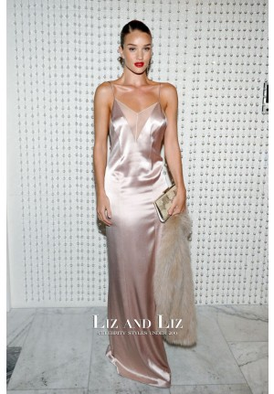 Rosie Huntington-Whiteley Beige Satin Dress Galvan for Opening Ceremony