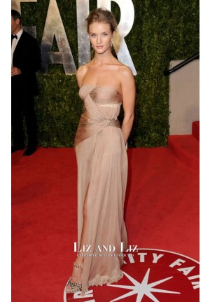 Rosie Huntington-Whiteley Nude Chiffon Dress Vanity Fair Oscar Party 2011
