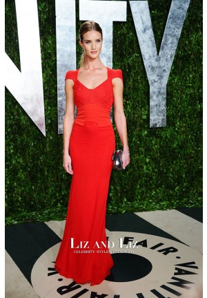 Rosie Huntington-Whiteley Red Cap-sleeve Dress Vanity Fair Oscar Party 2012