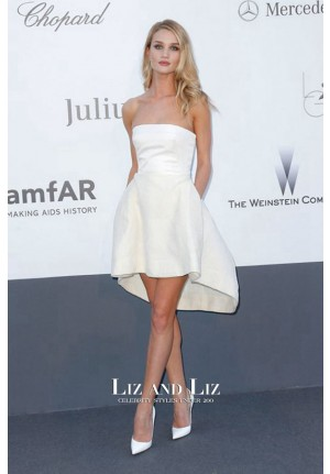 Rosie Huntington-Whiteley Short White Strapless Celebrity Dress amfAR 2013