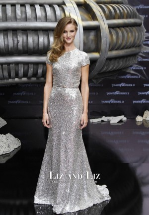 "Rosie Huntington-Whiteley Silver Sequin Dress ""Transformers"" Berlin Premiere"