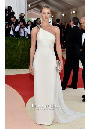 Rosie Huntington Whiteley White One-shoulder Dress Met Gala 2016 Red Carpet