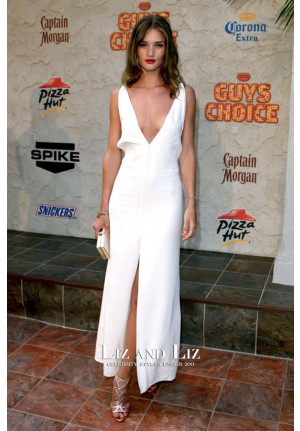 Rosie Huntington-Whiteley White V-neck Celebrity Dress Spike TV Awards 2011