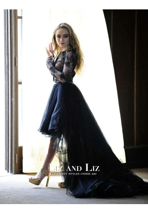 "Sabrina Carpenter Black Lace Tulle High-low Prom Dress ""Eyes Wide Open"""