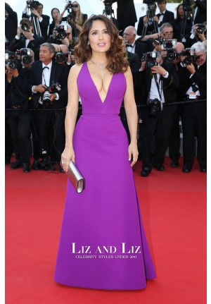 Salma Hayek Purple V-neck Prom Gown Cannes 2015 Red Carpet Dresses