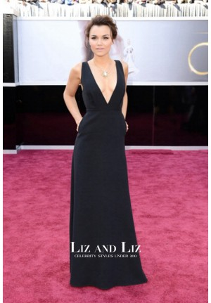 Samantha Barks Black Plunging Celebrity Gown 2013 Oscars Red Carpet Dresses