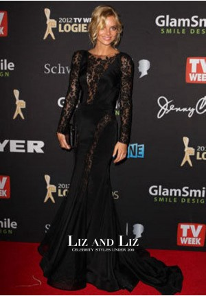 Samara Weaving Black Lace Long Sleeve Celebrity Dress Logie Awards 2012