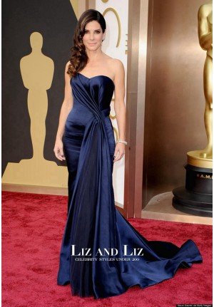 Oscars 2014 Dark Navy Strapless Satin Evening Prom Gown Red Carpet Dress
