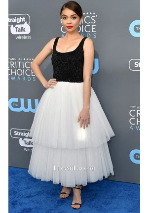 Sarah Hyland Black and White Tulle Prom Dress Critics' Choice Awards 2018