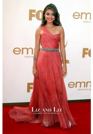 Sarah Hyland Coral Pink One-shoulder Red Carpet Prom Dress Emmys 2011