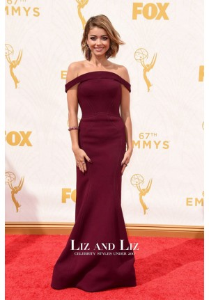 Sarah Hyland Burgundy Off-the-shoulder Celebrity Dress Emmys 2015 Red Carpet