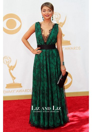 Sarah Hyland Black Green Lace Prom Gown Emmys 2013 Red Carpet Dress