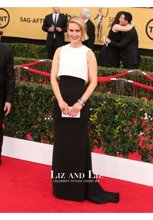 Sarah Paulson Black and White Prom Dress SAG Awards Red Carpet