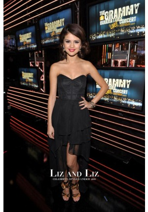 Selena Gomez Black Strapless Prom Dress Grammy Nominations 2010